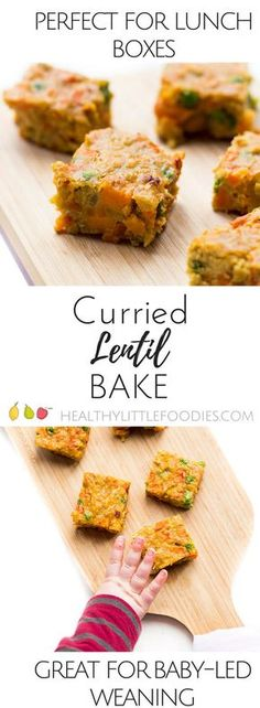 Curried Lentil bake, a perfect finger food making it great for baby-led weaning (blw) Great for the lunch box. via Healthy Little Foodies Curried Lentil bake, a perfect finger food making it great for baby-led weaning (blw) Great for the lunch box. Clean Eating Snacks, Healthy Snacks, Healthy Eating, Toddler Meals, Kids Meals, Toddler Food, Toddler Recipes, Eggs And Sweet Potato, Baby Food Recipes