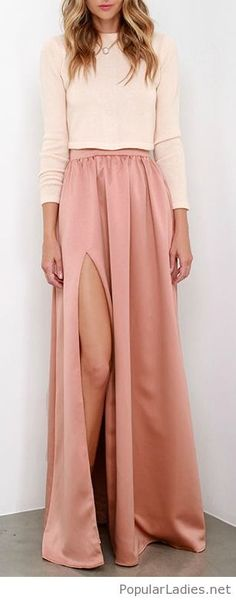 long-pink-skirt-and-a-nude-crop-blouse