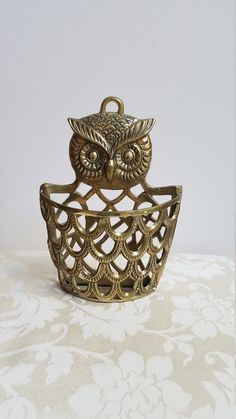 Vintage Brass Owl Mail Holder Organizer By Penco, Tabletop or Wall Pocket Gold Metal Basket, Bohemian Whimsical Bird by vintagenowandthen on Etsy Decorative Items, Decorative Bowls, Vintage Shops, Vintage Items, Mail Holder, Metal Vase, Metal Baskets, Wall Pockets, Brass