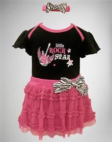 Little Rockstar Infant Creeper and Tutu Set 3 Pc