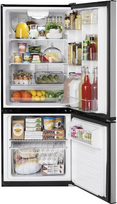 GE GBE10ESJSB 24 Inch Bottom-Freezer Refrigerator with 10.5 cu. ft. Capacity, 2 Adjustable Glass Shelves, Gallon Door Bin Storage, LED Lighting, Air Tower, Upfront Electronic Temperature Control and ENERGY STAR Qualification