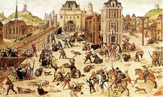 A Huguenot propaganda painting, by François Dubois, depicts Catherine de' Medici (rear left) standing over a heap of corpses during the St. Bartholomew's Day massacre. The body of Admiral Coligny is being thrown from a window.  ca. 1572