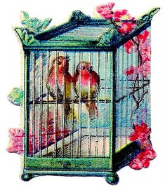 Vintage Clip Art - Pretty Birds in Asian Style Bird Cage - The Graphics Fairy