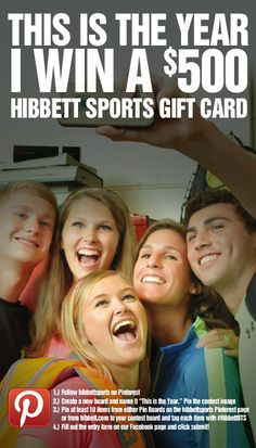 This is the year I win a $500 Hibbett Gift Card! Pin for your chance to WIN! Click on this link fro complete contest details!  https://www.facebook.com/HibbettSports/app_162089693979454