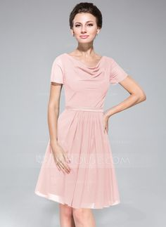 A-Line/Princess Cowl Neck Knee-Length Ruffle Zipper Up Sleeves Short Sleeves No Dark Navy Summer General Plus Chiffon Bridesmaid Dress