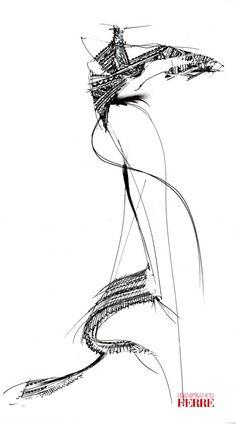 Fondazione Gianfranco Ferré / Collezioni / Donna / Prêt-à-Porter / 1998 / Primavera / Estate Mode Vintage Illustration, Fashion Illustration Sketches, Fashion Sketches, Fashion Figure Drawing, Woman Sketch, Fashion Templates, Fashion Vocabulary, Gianfranco Ferre, Ferrat