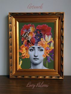 Fornasetti inspired original decoupage art golden by Lorypalomi