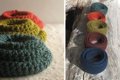 Poppytalk - The beautiful, the decayed and the handmade: Sharing the Process : Felted Bowls by Hold Handmade Crochet Bowl, Crochet Basket Pattern, Felted Wool Crafts, Felt Crafts, Crochet Projects, Sewing Projects, Diy Projects, Yarn Bowl, Needle Felting