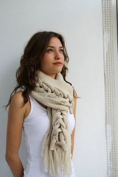 Beige Wool Special Design By DenizGunes Knit Scarf por denizgunes
