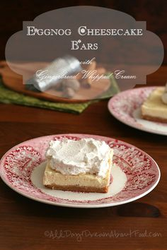 Eggnog Cheesecake Bars with spicy Gingerbread Whipped Cream - a healthy version, sugar-free and grain-free
