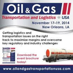 Oil & Gas Transportation and Logistics USA Summit at InterContinental New Orleans, 444 St. Charles Avenue, New Orleans, 70130, USA on 17-19 Nov, 2014,9:00 am-5:00 pm. Oil & Gas Transportation and Logistics USA Summit will address the O&G market's issues related to logistics and transportation strategies while maximizing margins and ensuring process efficiency. Booking: atnd.it/14971-1. Price: Pricing varies: $999-$4095.