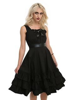 Black Bow Front Sleeveless Ruffle DressBlack Bow Front Sleeveless Ruffle Dress, BLACK
