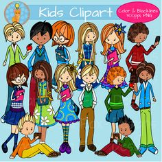 Middle School Kids Clip Art Personal and Commercial Use by Smart as a Fox Designs. This collection contains 21 clipart pieces: 14 vividly colored images and 7 black and white (lineart) images. 300 ppi, PNG files with transparent background perfect for any personal or commercial project! #clipart #middleschool #backtoschool #teacherspayteachers