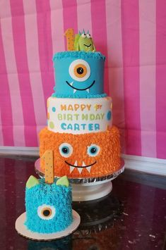 We were so excited to have this made for our li. Monster Birthday Cakes, Little Monster Birthday, Monster 1st Birthdays, Monster Birthday Parties, First Birthdays, Boys First Birthday Party Ideas, 1st Birthday Decorations, Birthday Themes For Boys, Baby 1st Birthday