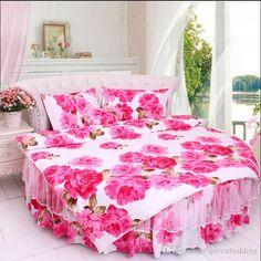 100%cotton Wedding Round Bed Bedding Set Korean Pastoral Rose Perfume Bottles Style White Pink Blue Dreaming Duvetcover Bedskirt Home Textile