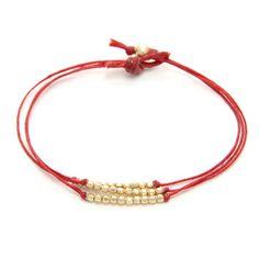 Dogeared gold dipped sparkle bracelet, red irish linen $40