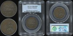 "1 obol (1819) with ""seated Britannia"" in copper. In slab by PCGS ""PR 63 BN"" (Hellas I.17) Brilliant Uncirculated & Prooflike"