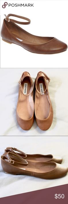 Steve Madden Kovert Ballet Flats Steve Madden Kovert ankle strap leather ballet flats in 'cognac' color. Size 6.5, brand new never worn. No wear on the soles, perfect condition! Very cute, neutral shoe, goes with everything. Sorry, no box! Steve Madden Shoes Flats & Loafers