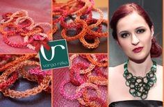 Orange and pink wire crocheted necklace made up of different sized circles that fill up the décolleté part. The closure is made from green ribbon that is adjustable on demand. www.vargareka.com
