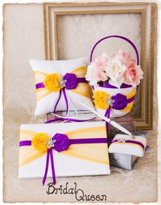 0f42d1ba210 Cadbury Purple and Yellow Wedding Accessories Set
