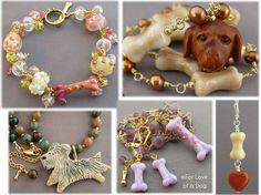 Four photos of dog-themed jewelry pieces.