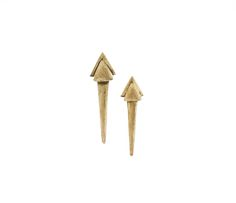 Carved by hand in wax and cast in brass. Large dagger earrings by M. Grace Made in Los Angeles
