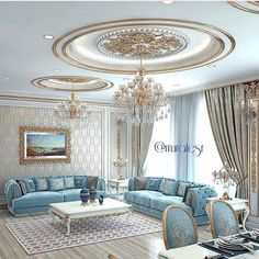Quite an elegant sitting room with light blue and gold. Very appealing.