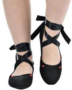 Inked Boutique - Ballerina Flats Devil Horns, Goth, Punk, Horror, Psychobilly www.inkedboutique.com