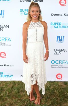 Kelly Ripa in a white midi lace dress