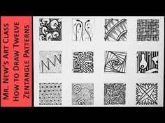 (46) Easy Zentangle Doodles - How to Make12 Extra Patterns - Step by Step Tutorial - YouTube
