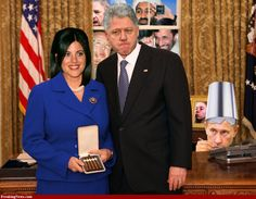 Bill Clinton gives Monica Lewinsky a Cigar.