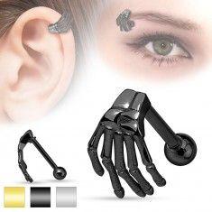 Acél piercing fülbe vagy szemöldökbe, csontváz kéz, különböző színek