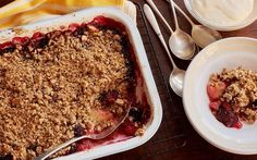 This crumble is packed with wholemeal flour, oats and nuts making it a more wholesome but just as delicious alternative to a classic crumble. Find it here.