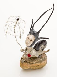 IRENE HUNCHAK: Sun Snail ~ Sculpted, Modelled, Hand Painted; Polymer Clay, Crystals, Wire, Rock, Moroccan Ammonite Fossil
