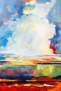 "Newest Work | Samantha Williams-Chapelsky - Up in the Clouds - Acrylic on Canvas 19 x 28""(Sold)  Abstract Landscape Painting"