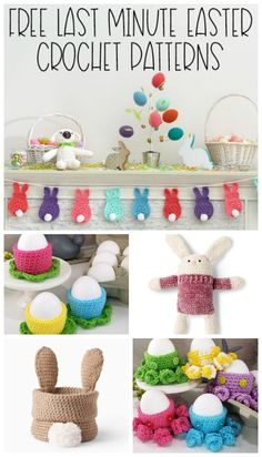Easter is coming fast fast fast - so here are some free last-minute Easter crochet patterns you can whip up to get in the holiday spirit! Crochet Bunny, Crochet Round, Easy Crochet, Bunny Crafts, Easter Crafts For Kids, Holiday Crochet Patterns, Diy Easter Decorations, Hoppy Easter, Paper Crafts