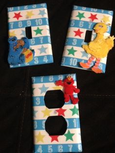 Pre-school room, Toddler, 2, 3, 4, year old BIRTHDAY GIFT! 3 peice Set SESAME STREET STARS Light switch plates by ExpressionsofFaith.etsy.com, $10.99