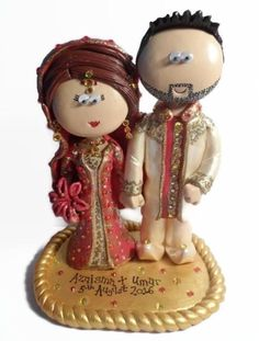 Indian Wedding Gift Baskets Uk : Indian bride and groom wedding cake topper. Handmade from scratch, any ...