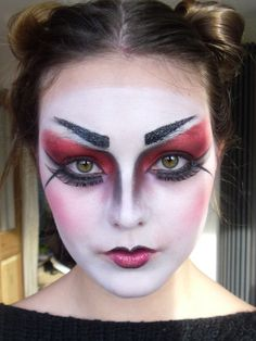 GRACE COOLE-GREEN MAKE-UP ARTIST, HALLOWEEN- 'Evil Geisha' Look! *TUTORIAL*