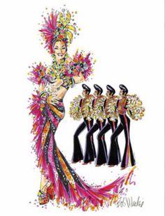 Carmen Miranda inspired illustration by Bob Mackie Mardi Gras Costumes, Burlesque Costumes, Theatre Costumes, Movie Costumes, Dance Costumes, Dance Fashion, Fashion Art, Emo Fashion, Gothic Fashion
