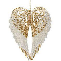 "Kurt Adler 6"" Acrylc White Wing with Gold Glitter Christmas Ornament White Christmas Ornaments, Christmas Decorations For Kids, Glitter Ornaments, Christmas Figurines, Hanging Ornaments, Simple Christmas, Xmas Ideas, Christmas Tree, Gift Ideas"