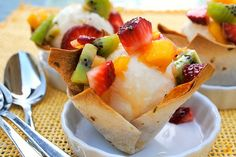 Coconut ice-cream in edible bowl w/ fruit salsa