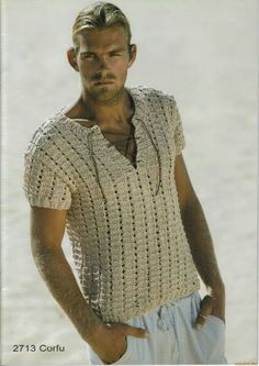 Summer time and the linen is easy :) Knitting Paterns, Crochet Stitches Patterns, Hand Knitting, Crochet Men, Crochet For Boys, Crochet Summer Dresses, Knitwear Fashion, Mens Sweatshirts, Men Sweater