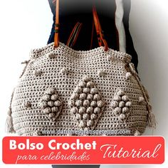 como tejer bolso crochet Popcorn Stitch, Crazy Colour, Crochet Handbags, Knitted Bags, Master Class, Straw Bag, Pouch, Diy Crafts, Sewing
