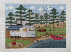 Camping by the Lake with Trailer - Counted Cross Stitch Pattern by Camp Cross Stitch