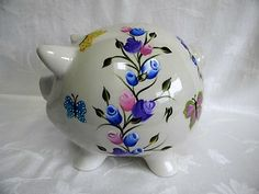 Shop for on Etsy, the place to express your creativity through the buying and selling of handmade and vintage goods. Easter Bingo, Personalized Piggy Bank, Piggy Banks, Rose Buds, First Birthdays, Little Girls, Pink Yellow, Purple, Hand Painted