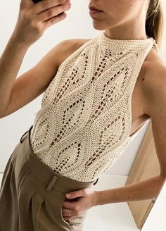Cala Top - We are knitters - Marie Claire Summer Knitting, Lace Knitting, Knitting Kits, Crochet Bikini, Knit Crochet, Free Crochet, Crochet Fashion, Knitting Designs, Knit Patterns