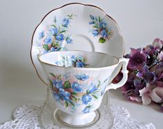 TeaCup and Saucer Royal Albert Tea Cup  Bone China Teacup and Saucer Blue Flowers by treasurecoveally on Etsy