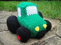 My boys love this little crochet Tractor. It is roughly 20cm from bumper to bumper: perfect for teeny hands to grab and teenier mouths to drool all over.
