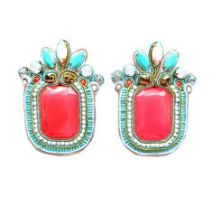 SUMMER NIGHTS oversized soutache earrings in neon pink, white and turquoise. Free shipping! on Etsy, $91.11 AUD